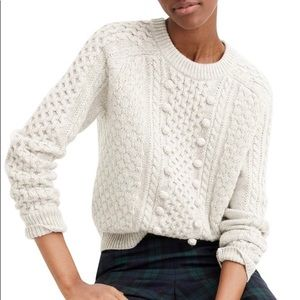 NWT J. Crew Gray Wool Cable Knit Pom Pom Sweater M